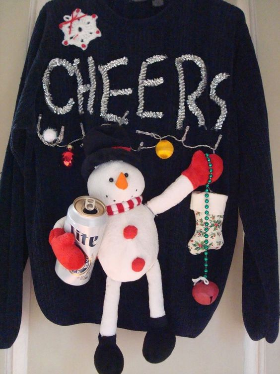 UGLY CHRISTMAS SWEATER MENS BOOZING SNOWMAN LIGHTS MUSIC JINGLE BELLS SONG SZ L #whocares #Crewneck: