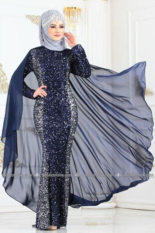 Modaselvim Abiye Pelerinli Payetli Balik Abiye 8493d170 Laci Elbiseler Kiyafet Elbise