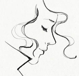 pretty sketch // garance dore // profile portrait // drawing // illustration of a woman