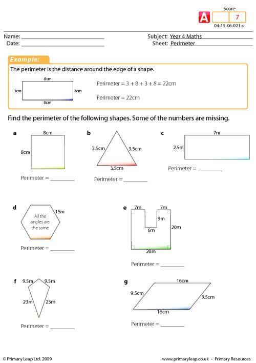 Year 4 Maths Perimeter worksheet – Yr 4 Maths Worksheets