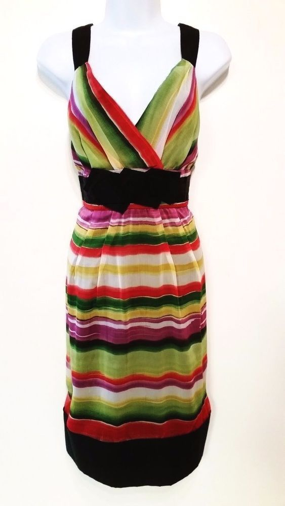The Limited EVENT Multi -Color Sexy V-Neck Dress Size 10 #TheLimited #EmpireWaist #Cocktail