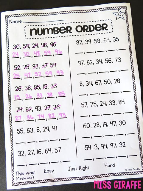 Differentiated First Grade Math Worksheets For Number Order Where Students Put Numbers In Ord Teaching First Grade First Grade Math Worksheets First Grade Math