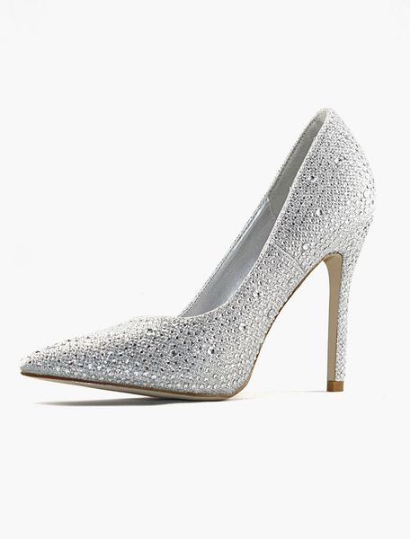 Silver Wedding Shoes High heel bridal pumps pointed rhinestone party shoes
