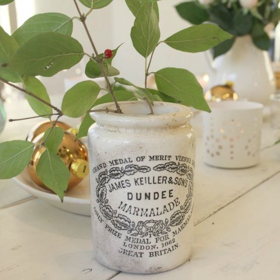 My vintage Dundee marmalade jar with a simple berry branch on a Christmas tablescape. COME SEE Timeless Kitchen Design Ideas and Decor to Freshen Your Traditional, Farmhouse, as well as French Country Kitchen.