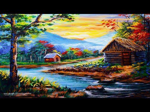 House Painting Original acrylic Original painting Landscape painting Blue house Blue painting Cottage painting Bright wall art