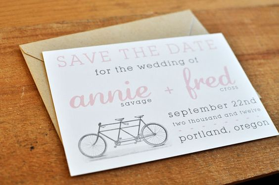 Bicycle Love  Wedding Save The Date by paperandpinafore on Etsy, $1.75