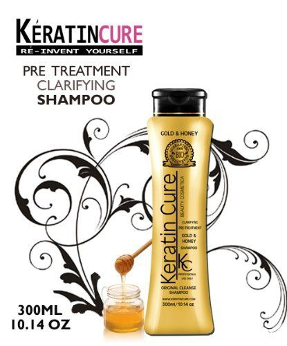 KERATIN BRAZILIAN CLARIFYING GOLD & HONEY BIO SHAMPOO HAIR CLARIFYING kc KERATIN CURE ORIGINAL CLEANSE 300ML 10.14FL OZ CONTIENE KERATINA CHAMPU CLARIFICANTE by KERATIN CURE SHAMPOO. $34.99. REMOVES RESIDUES. ELEGENT HONEY SCENT. CONTAINS KERATIN. BOTANICAL INGREDIENTS. PROFESSIONAL PRE TREATMNENT SHAMPOO. KC GOLD & HONEY MAX ORIGINAL CLEANSE PRE-TREATMENT CLARIFYING SHAMPOO is specially formulated to remove residues from hair and prepare it to receive professional keratin tr...