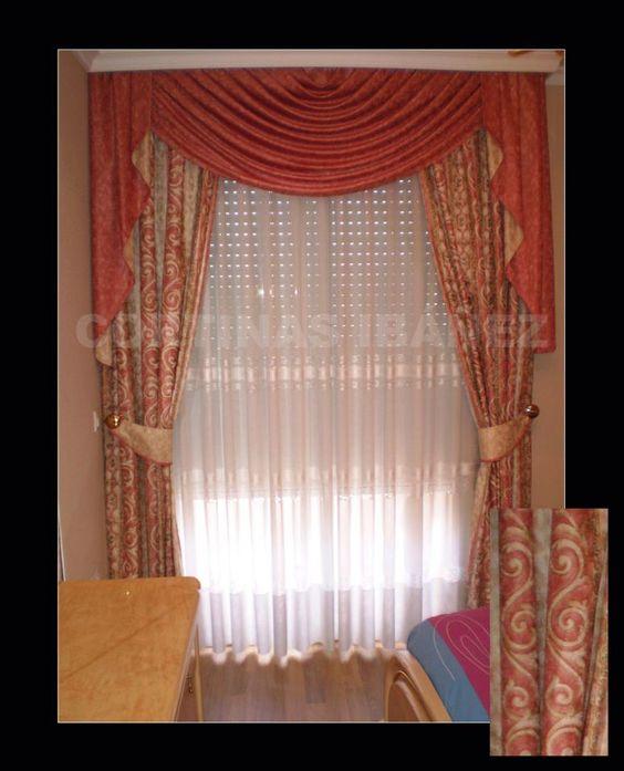 Cortina cl sica con bando de una honda y corbatas forradas - Alzapanos para cortinas ...