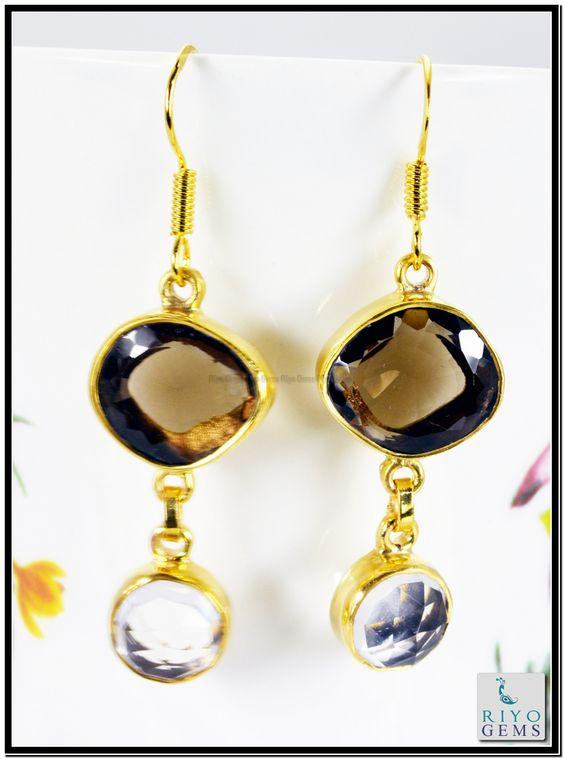 Pearl Blue Topaz Cz Gems 18k Yellow Gold Plated Earring L 1.5in Gpemul-5247 http://www.riyogems.com