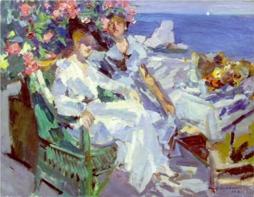 On the terrace, by Konstantin Korovin (Russian, 1861-1939)