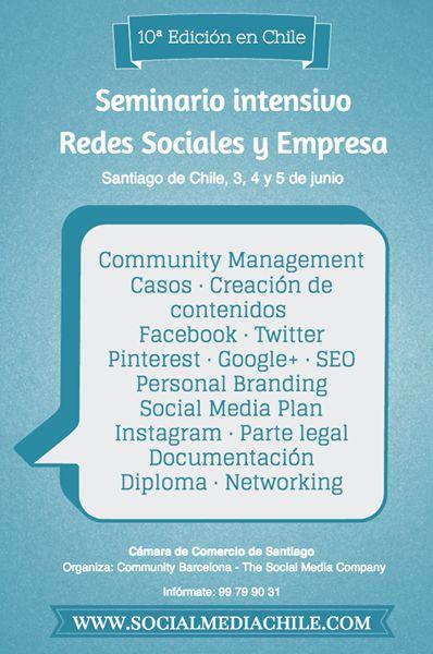 20% de descuento para grupos de empresa: Seminario Redes Sociales y Empresa, Santiago de Chile (3-4-5 junio). ¡Apúntate!
