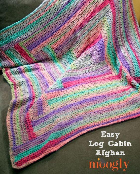 Easy log cabin afghan free crochet pattern on mooglyblog for Log cabin blanket