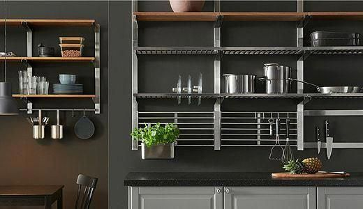 Kungsfors Wall Rack Stainless Steel Ikea Replacing Kitchen Countertops Kitchen Shelves Hanging Shelf Kitchen