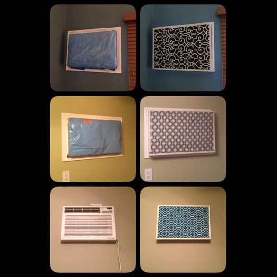 I hate having in wall air conditioners. This year I finally made frames and fabric covers for them! Here are the before and afters.