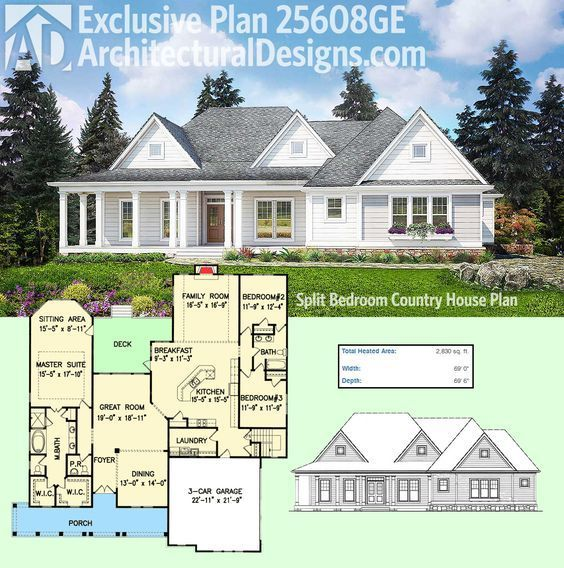 Architectural Designs Exclusive House Plan 25608ge Has A Modern Farmhouse Exterior And A Split Bedro House Plans Farmhouse Country House Floor Plan House Plans