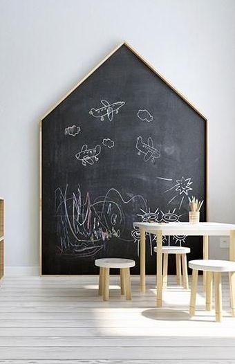 House shaped chalkboard kids pinterest chambre for Tableau noir pour enfant