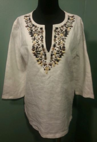Adrienne Vittadini Studio White Beaded Front 100% Linen Tunic Dress Top Size 6 $24 Free Shipping!