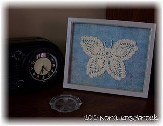 found the crocheted butterfly in a thrift store for 75¢ & made the shadowbox for it from frames I picked up at Dollar Tree
