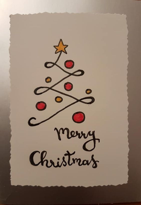 Merry Christmas Tree Card With Gold Star Christmas Cards Handmade Diy Christmas Cards Christmas Card Crafts
