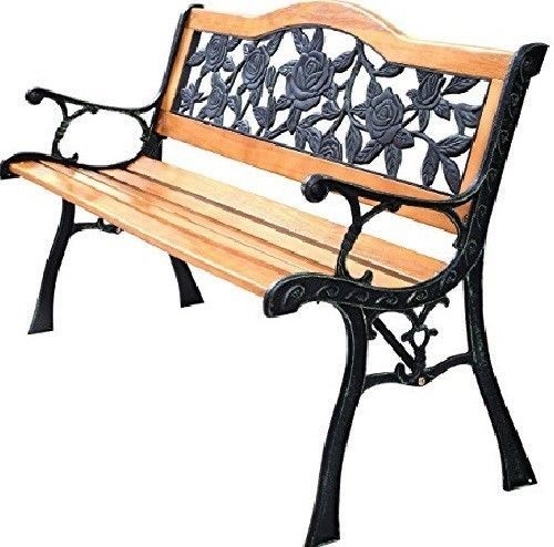 Rose Resin Back Park Bench Iron Legs Outdoor Rust Resistant Bronze Finish Dc Garden Bench Porch Chairs Patio Bench