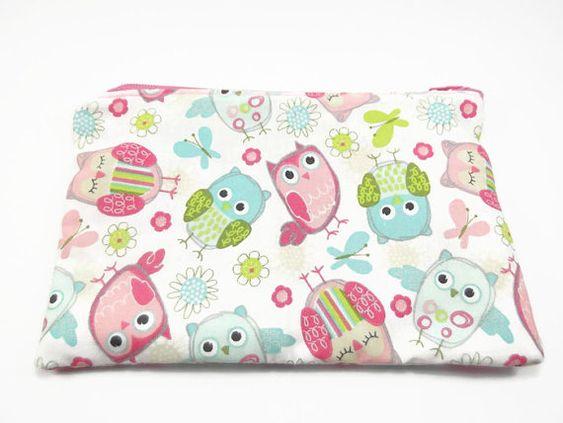 Zipper Bag Owl Bag Zipper Pouch Pink Bag by BeBeautifulDesigns
