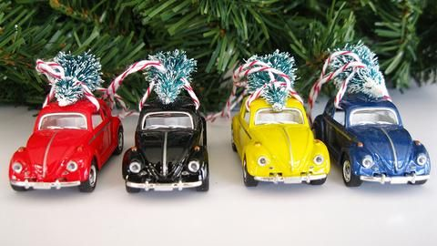 Vw Bug Beetle Christmas Ornament With Tree On Top Vw Bug Christmas Ornaments Bottle Brush Christmas Trees