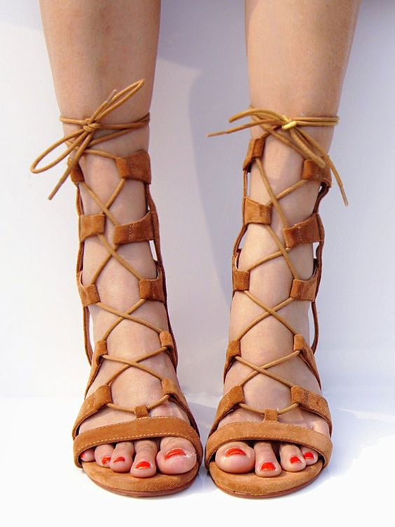 Brown Suede Lace-up Gladiator Sandals with Gold Heels