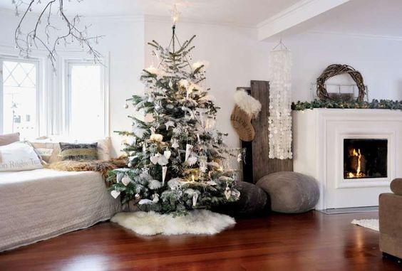 Colori addobbi natale 2015 - Albero di Natale con decorazioni bianche