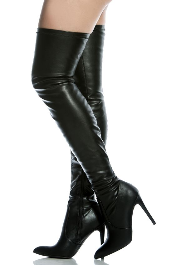 Black Faux Leather Thigh High Pointed Toe Boots @ Cicihot Boots ...
