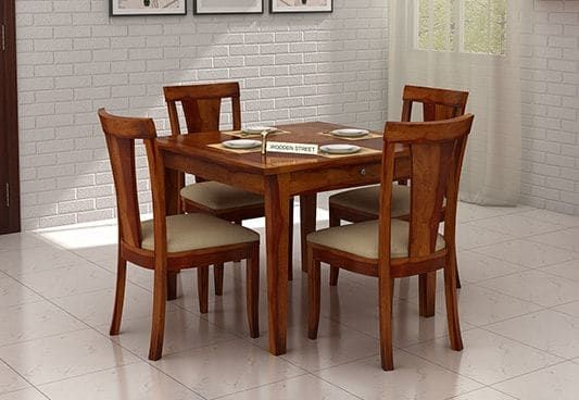 Mcbeth Storage 4 Seater Dining Table Set Honey Finish Dining