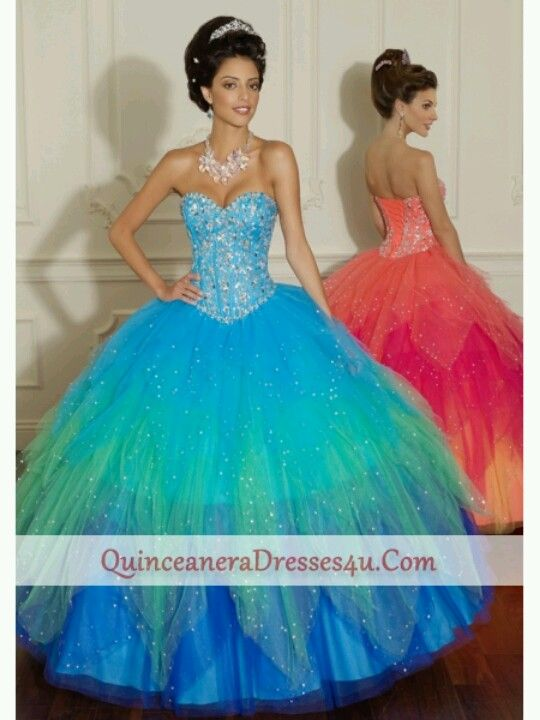 Blue and green quinceanera dresses | quiceanera | Pinterest | Blue ...