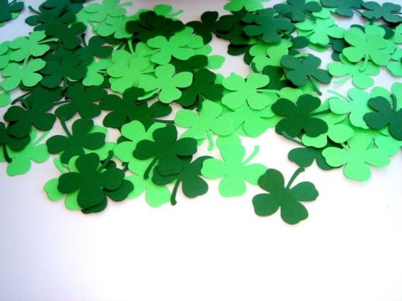 200 Pieces - Lucky Shamrocks with Four Leaf Clover Hand Punched Confetti - Perfect for Weddings, Showers and Anniversaries