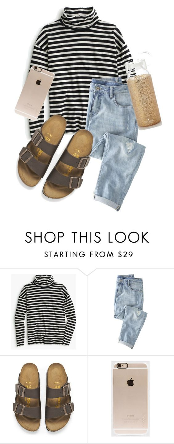 """""""50 degrees"""" by amsyes ❤ liked on Polyvore featuring J.Crew, Wrap, Birkenstock, Incase and Kate Spade"""