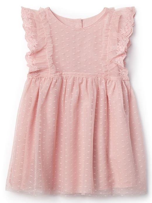 Baby Gap Girls Pink Flutter Sleeves Lacey Tulle Dress Fully Lined NWT