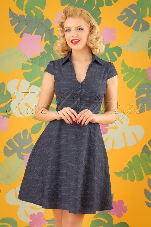 Fever 60s Harlow Shirt Dress In Vintage Indigo Kleider Denim
