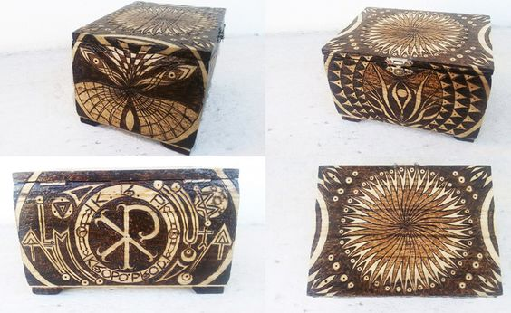 Large jewelry box - In loving memory of Kropo Prods - pyrography by Jimi
