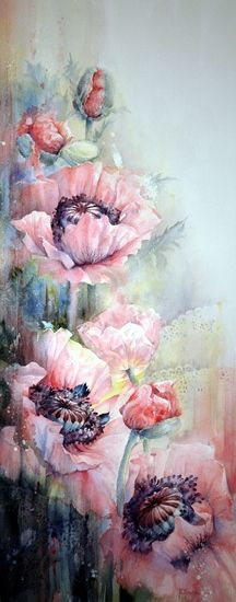 Pink Poppies - Moudru Marie-Claire - fleur3 <> (flowers, blooms, blossoms, posies, watercolor)