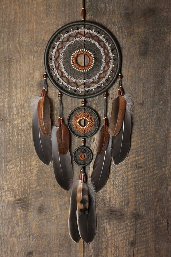 Capteur de r ves dreamcatcher gris brun dreamcatcher grand dream catcher natural cadeau de - Attrape reve arbre ...