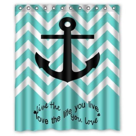 """Buy """"Live the Life You Love, Love the Life You Live"""" Quote Blue Chevron Anchor Waterproof Bathroom Shower Curtain 66""""(w) x 72(h)"""" inches in Cheap Price on m.alibaba.com"""