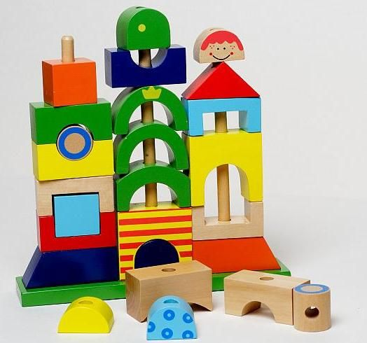Zabawki Drewniane Edukacyjna Piramidka MÓJ DOM
