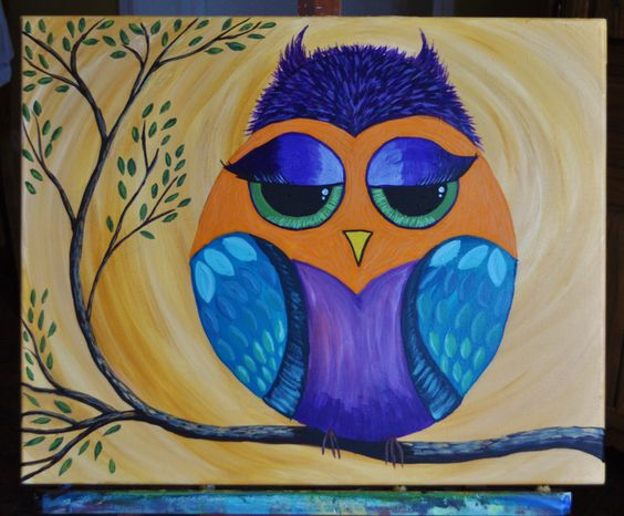 Owl painting from Cinnamon Cooney tutorial