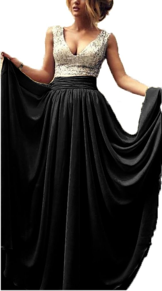 Babyonline Sexy Lady's Deep V-neck Sequins Top Chiffon Long Prom Dress Ball Gown | Amazon.com