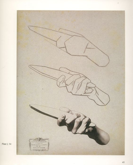 Anatomy studies, hand holding a whetstone . Bargue plate