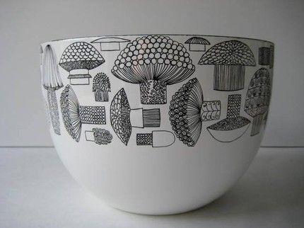 Finel Kaj Franck Enamel Large Mushroom Bowl Finland on Etsy