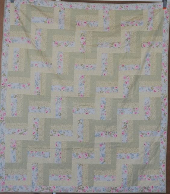 A personal favorite from my Etsy shop https://www.etsy.com/listing/248946184/rail-fence-quilt-pastel-colors-throw