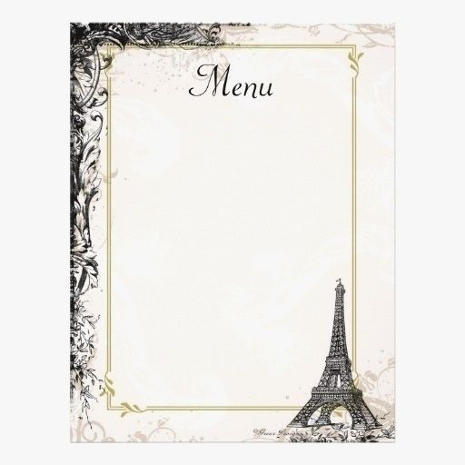 Fancy Menu Template Blank French World Of Printable And Chart