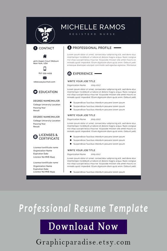 Nurse Resume Cv Template Medical Cover Letter Mac Pc Etsy One Page Resume Template Cv Template Nursing Resume Template