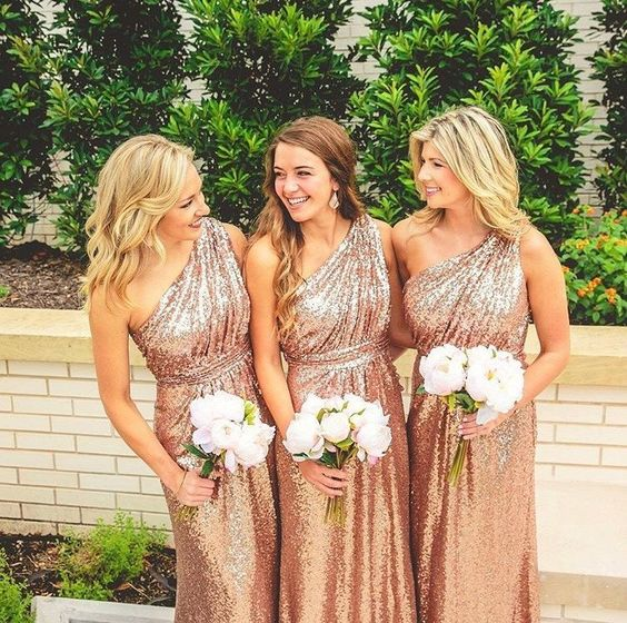 MACloth One Shoulder Sequin Long Bridesmaid Dress Rose Gold Formal Gown: