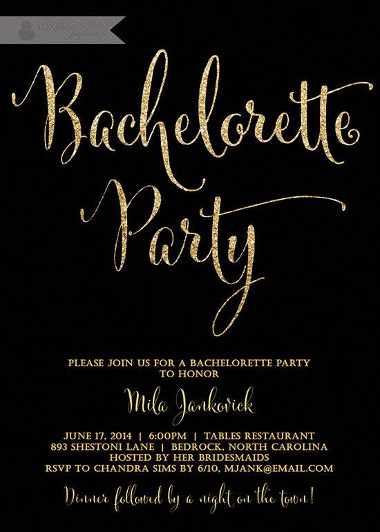Black & Gold Bachelorette Party Invitation Glitter Modern Script ...