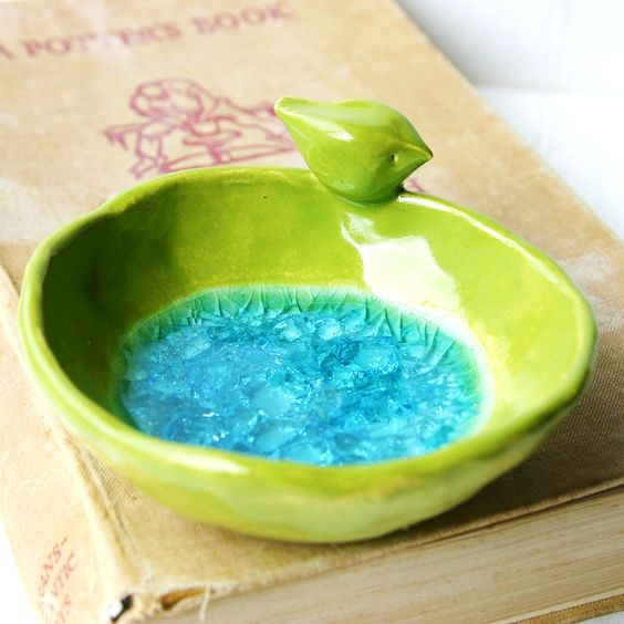 Bird Bath Crackle Aqua Glass Ring Catcher Home by BackBayPottery. $18 - want to try with solid glaze and a blue marble